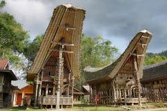 Alloggio tradizionale del villaggio di Toraja in Indonesia Fotografia Stock