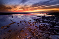 Allonby solnedgång Arkivfoto