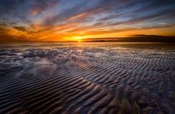 Allonby Sonnenuntergang Lizenzfreie Stockbilder