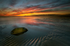 Allonby sunset. Allonby Bay Cumbria Irish Sea Royalty Free Stock Photo