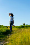 Allontanandosi nel tramonto di estate Fotografie Stock