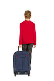 Allontanarsi della borsa di viaggio della tenuta del ragazzo isolato su bianco Immagine Stock