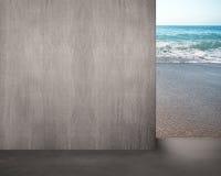 Allontanarsi muro di cemento con la vista del mare Fotografie Stock