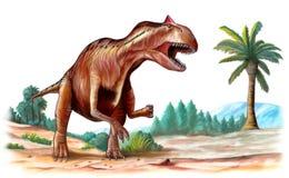 Allosaurus. Jurassic era predator, running through a prehistoric landscape. Digital illustration Royalty Free Stock Images