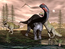 Allosaurus attacking apatosaurus dinosaur - 3D Stock Image