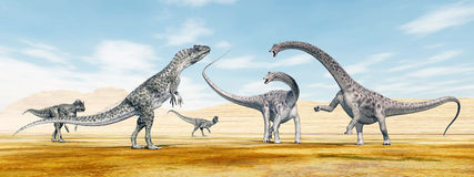 Allosaurus attacks Diplodocus Royalty Free Stock Images