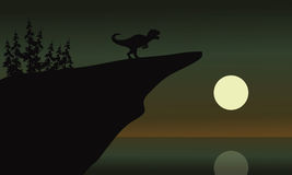 Allosaurus in cliff with moon. At the night Royalty Free Stock Photography
