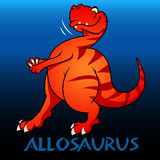 Allosaurus cute character dinosaurs illustration Royalty Free Stock Images