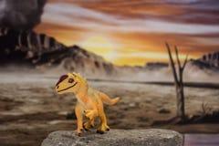 Allosaurus del bebé en fondo jurásico foto de archivo