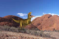 Allosaurus Dinosaur Prehistoric Beast. Nature scene of a Allosaurus dinosaur in prehistoric times. The Jurassic park setting adds a touch of realism to the royalty free stock photo