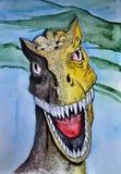 Allosaurus dinosaur Retrato Aquarela molhada de pintura no papel Arte ingénua Aquarela do desenho no papel ilustração stock
