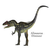 Allosaurus Dinosaur Tail with Font. Allosaurus was a carnivorous theropod dinosaur that lived in North America in the Jurassic Period Royalty Free Stock Images