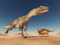 Allosaurus e Nasutoceratops no deserto ilustração royalty free