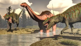 Allosaurus hunting big brontosaurus dinosaur - 3D Stock Image