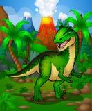 Allosaurus mignon de bande dessinée Illustration d'un dinosaure de bande dessinée Images stock