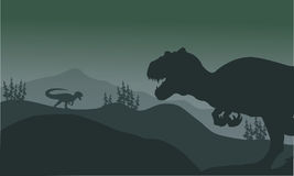 Allosaurus at the night silhouette Royalty Free Stock Photography