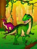 Allosaurus op de achtergrond van bos Royalty-vrije Stock Fotografie