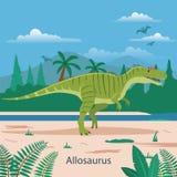 Allosaurus. Prehistoric animal. Illustration of prehistoric animal in forest stock illustration