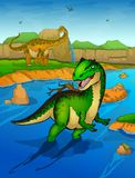 Allosaurus on the river background. Vector illustration Stock Images