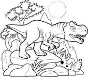 Allosaurus searches for prey. Funny Allosaurus searches for prey royalty free illustration