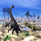 Allosaurus som anfaller brachiosaurusdinosaurien - 3D stock illustrationer