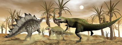 Allosaurus and stegosaurus dinosaurs fight - 3D. Two allosaurus and one stegosaurus dinosaurs fighting next to williamson trees in the desert by brown sunset Stock Photo