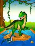 Allosaurus sur le fond d'une cascade Photographie stock