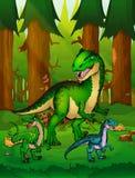 Allosaurus sur le fond d'une forêt Image stock