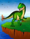 Allosaurus sur le fond de la mer Photo libre de droits