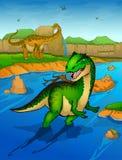 Allosaurus sur le fond de rivière Images stock