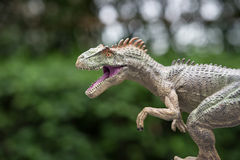 Allosaurus toy. In front of trees Stock Photography