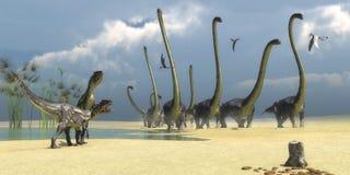 Allosaurus y dinosaurios de Omeisaurus foto de archivo libre de regalías