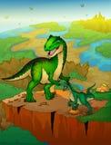Allosaurus y rapaz con el fondo del paisaje Foto de archivo libre de regalías