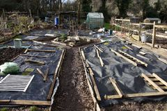 Allotment beds in Winter Royalty Free Stock Photography