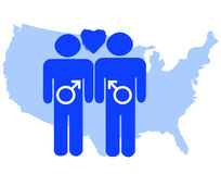 Allow Same Sex Marriage in America. Gay Pride Symbols Representing Same Sex Marriage in America Stock Image