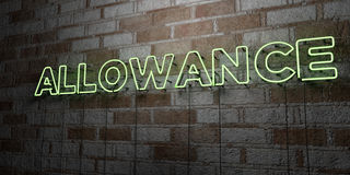 ALLOWANCE - Glowing Neon Sign on stonework wall - 3D rendered royalty free stock illustration. Can be used for online banner ads and direct mailers Royalty Free Stock Photography