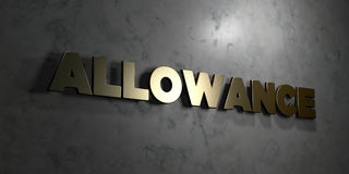 Allowance - Gold text on black background - 3D rendered royalty free stock picture. This image can be used for an online website banner ad or a print postcard Royalty Free Stock Photo
