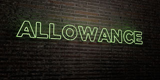 ALLOWANCE -Realistic Neon Sign on Brick Wall background - 3D rendered royalty free stock image. Can be used for online banner ads and direct mailers Stock Images