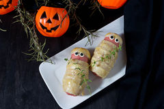 Нalloween treat sausage in the dough Stock Image