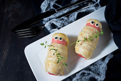 Нalloween treat sausage in the dough Royalty Free Stock Photography
