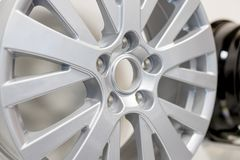 Alloy Car Wheel . Side View of Polished Chrome Car Rim. Truck Aluminum Wheel. Steel Wheels. Clipping Path. Alloy Car Wheel on White Background. Side View of stock photography