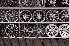 Alloy car wheels wall Royalty Free Stock Photography