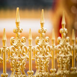 Alloy fence. Row of the golden alloy fence pattern Stock Photo