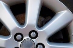 Alloy wheel. Fragment of an auto wheel made of light alloy Stock Photo