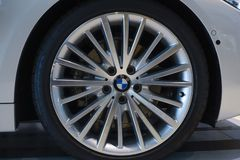 Alloy wheel of a BMW 435i. BMW World in Munich, exhibition, alloy wheel of a BMW 435i in the BMW Welt, Munich, Bavaria, Europe Royalty Free Stock Image