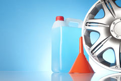 Alloy wheel with car accessories Stock Images