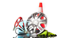 Alloy wheel with car accessories Royalty Free Stock Photo