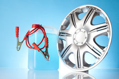 Alloy wheel with car accessories Royalty Free Stock Images