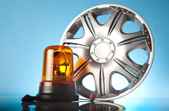Alloy wheel with orange warning light Stock Photos