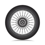Alloy wheel with tire. For car and motorcycle isolated on white, Vector stock illustration